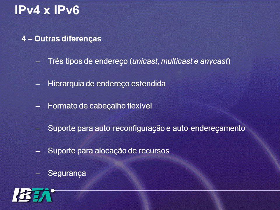 IPv4 x IPv6 4 – Outras diferenças –Três tipos de endereço (unicast, multicast e anycast) –Hierarquia de endereço estendida –Formato de cabeçalho flexível –Suporte para auto-reconfiguração e auto-endereçamento –Suporte para alocação de recursos –Segurança