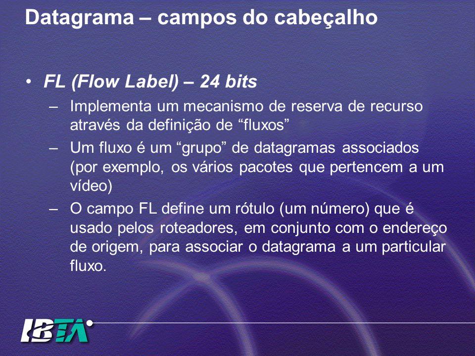 Datagrama – campos do cabeçalho FL (Flow Label) – 24 bits –Implementa um mecanismo de reserva de recurso através da definição de fluxos –Um fluxo é um grupo de datagramas associados (por exemplo, os vários pacotes que pertencem a um vídeo) –O campo FL define um rótulo (um número) que é usado pelos roteadores, em conjunto com o endereço de origem, para associar o datagrama a um particular fluxo.