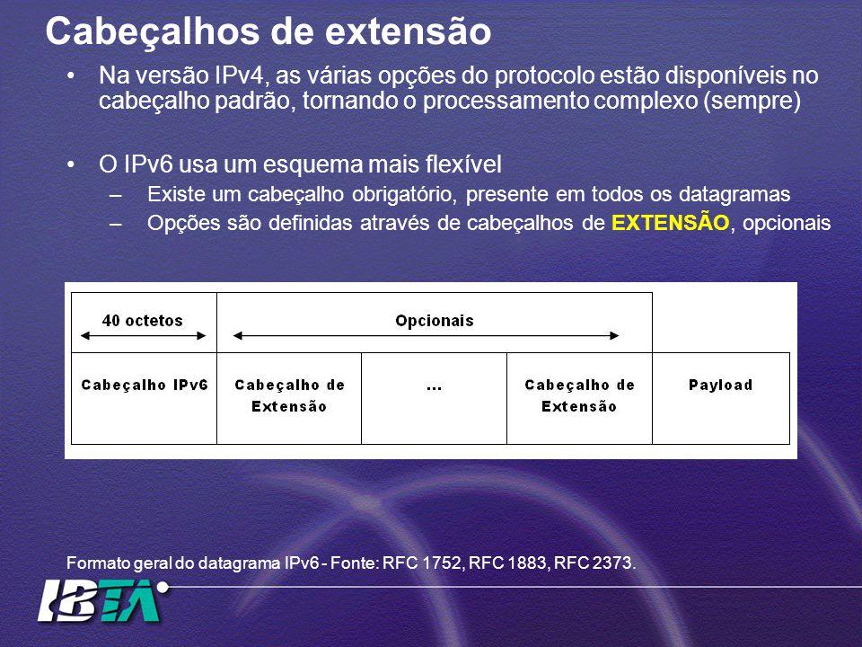Cabeçalhos de extensão Na versão IPv4, as várias opções do protocolo estão disponíveis no cabeçalho padrão, tornando o processamento complexo (sempre) O IPv6 usa um esquema mais flexível –Existe um cabeçalho obrigatório, presente em todos os datagramas –Opções são definidas através de cabeçalhos de EXTENSÃO, opcionais Formato geral do datagrama IPv6 - Fonte: RFC 1752, RFC 1883, RFC 2373.