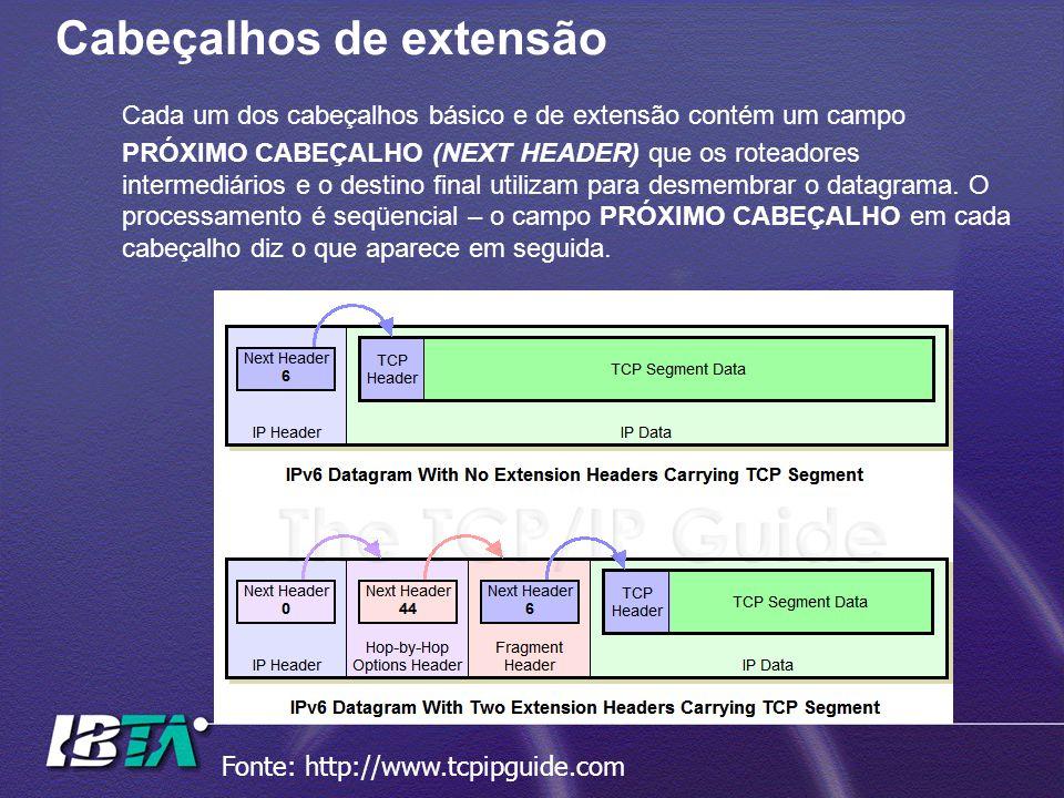 Cabeçalhos de extensão Cada um dos cabeçalhos básico e de extensão contém um campo PRÓXIMO CABEÇALHO (NEXT HEADER) que os roteadores intermediários e o destino final utilizam para desmembrar o datagrama.