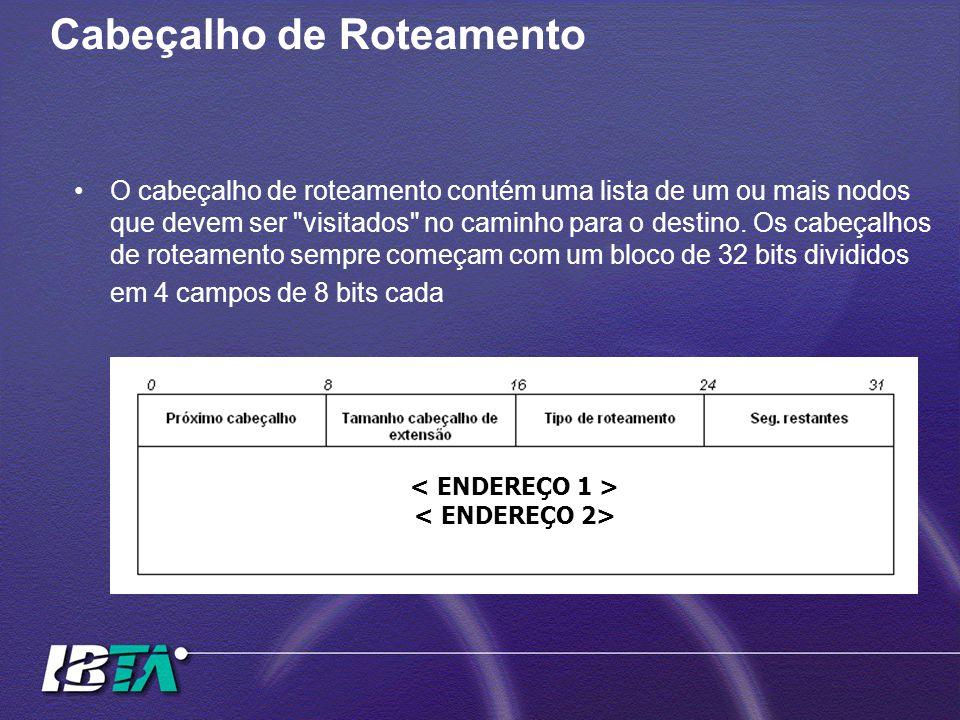 Cabeçalho de Roteamento O cabeçalho de roteamento contém uma lista de um ou mais nodos que devem ser visitados no caminho para o destino.