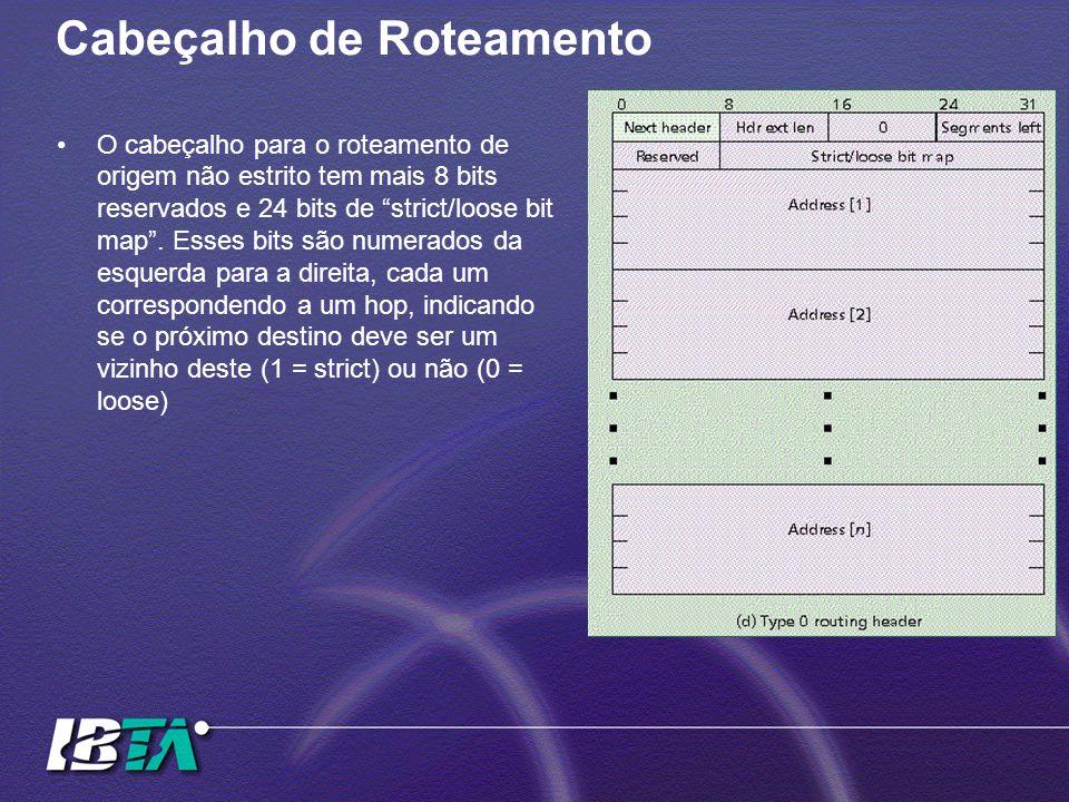 Cabeçalho de Roteamento O cabeçalho para o roteamento de origem não estrito tem mais 8 bits reservados e 24 bits de strict/loose bit map .
