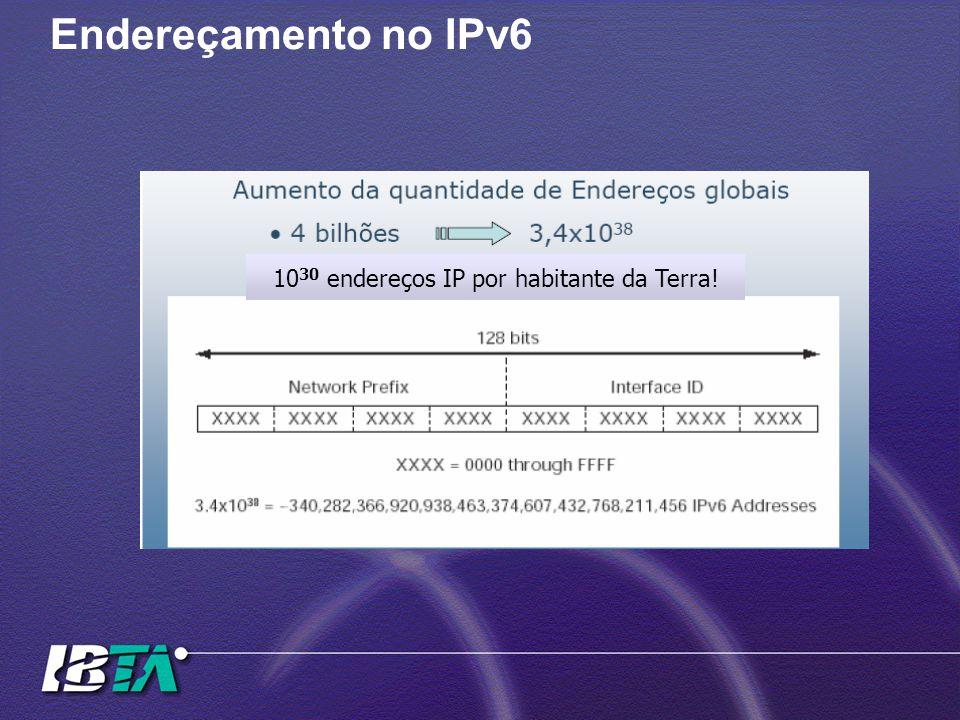 Endereçamento no IPv6 10 30 endereços IP por habitante da Terra!