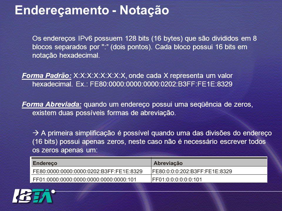 Endereçamento - Notação Os endereços IPv6 possuem 128 bits (16 bytes) que são divididos em 8 blocos separados por : (dois pontos).