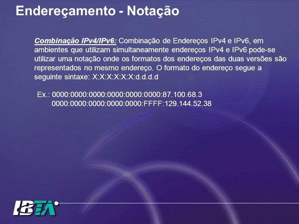 Endereçamento - Notação Combinação IPv4/IPv6: Combinação de Endereços IPv4 e IPv6, em ambientes que utilizam simultaneamente endereços IPv4 e IPv6 pode-se utilizar uma notação onde os formatos dos endereços das duas versões são representados no mesmo endereço.