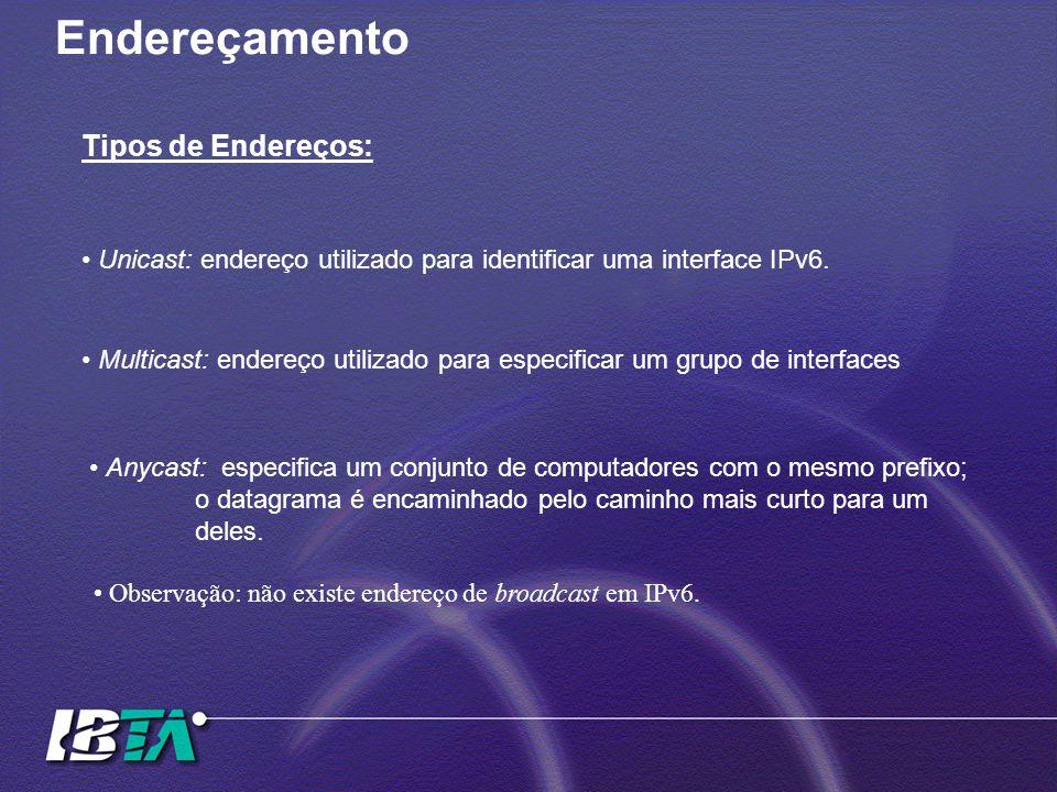 Endereçamento Tipos de Endereços: Unicast: endereço utilizado para identificar uma interface IPv6. Multicast: endereço utilizado para especificar um g