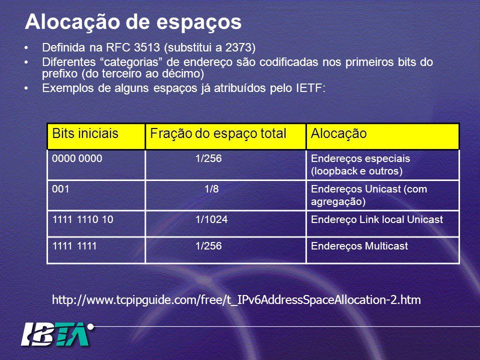 Alocação de espaços Definida na RFC 3513 (substitui a 2373) Diferentes categorias de endereço são codificadas nos primeiros bits do prefixo (do terceiro ao décimo) Exemplos de alguns espaços já atribuídos pelo IETF: Bits iniciaisFração do espaço totalAlocação 0000 1/256Endereços especiais (loopback e outros) 001 1/8Endereços Unicast (com agregação) 1111 1110 10 1/1024Endereço Link local Unicast 1111 1/256Endereços Multicast http://www.tcpipguide.com/free/t_IPv6AddressSpaceAllocation-2.htm