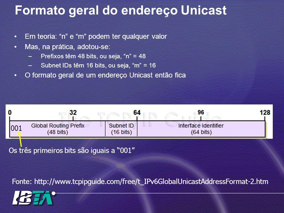 Formato geral do endereço Unicast Em teoria: n e m podem ter qualquer valor Mas, na prática, adotou-se: –Prefixos têm 48 bits, ou seja, n = 48 –Subnet IDs têm 16 bits, ou seja, m = 16 O formato geral de um endereço Unicast então fica Fonte: http://www.tcpipguide.com/free/t_IPv6GlobalUnicastAddressFormat-2.htm 001 Os três primeiros bits são iguais a 001