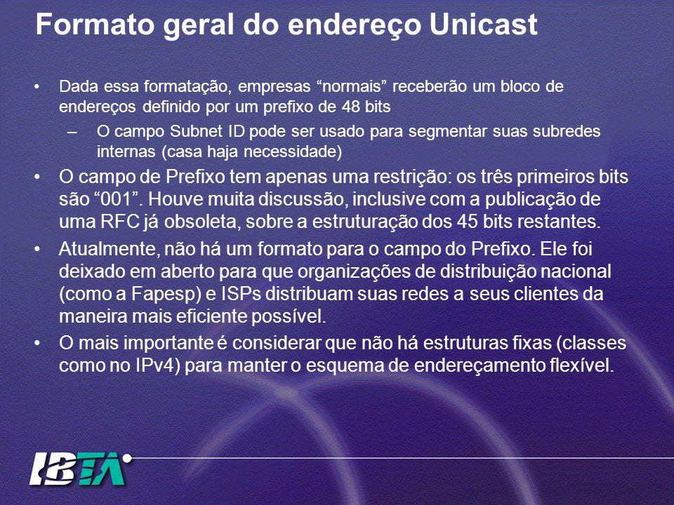 """Formato geral do endereço Unicast Dada essa formatação, empresas """"normais"""" receberão um bloco de endereços definido por um prefixo de 48 bits –O campo"""