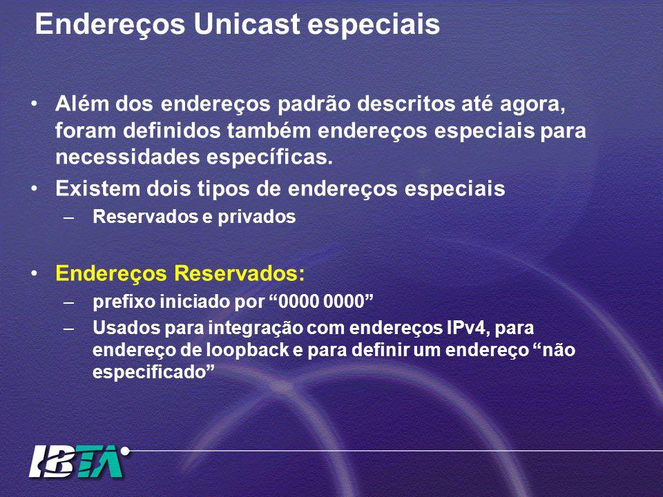 Endereços Unicast especiais Além dos endereços padrão descritos até agora, foram definidos também endereços especiais para necessidades específicas. E