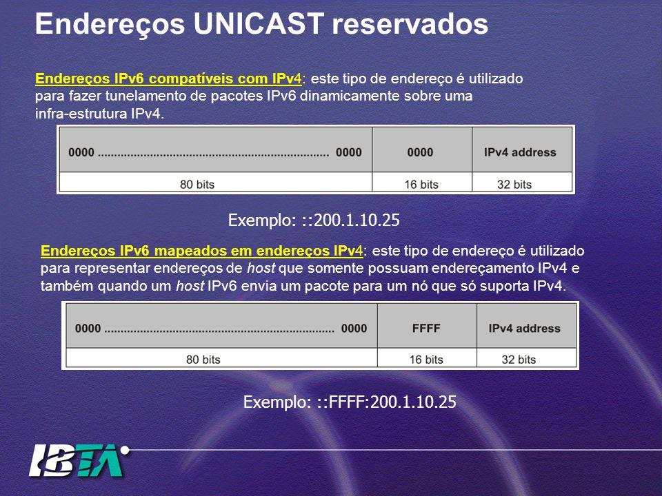 Endereços UNICAST reservados Endereços IPv6 compatíveis com IPv4: este tipo de endereço é utilizado para fazer tunelamento de pacotes IPv6 dinamicamen