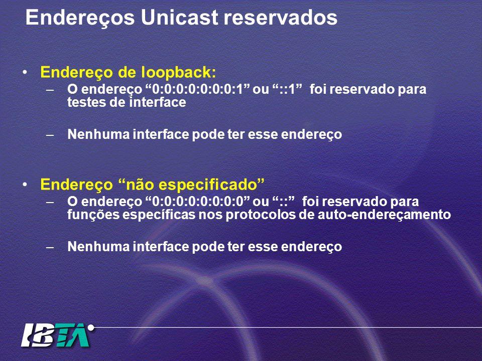 Endereços Unicast reservados Endereço de loopback: –O endereço 0:0:0:0:0:0:0:1 ou ::1 foi reservado para testes de interface –Nenhuma interface pode ter esse endereço Endereço não especificado –O endereço 0:0:0:0:0:0:0:0 ou :: foi reservado para funções específicas nos protocolos de auto-endereçamento –Nenhuma interface pode ter esse endereço