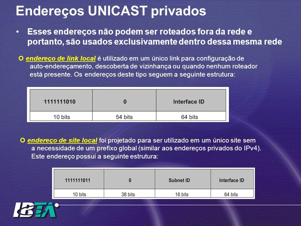 Endereços UNICAST privados O endereço de link local é utilizado em um único link para configuração de auto-endereçamento, descoberta de vizinhança ou quando nenhum roteador está presente.