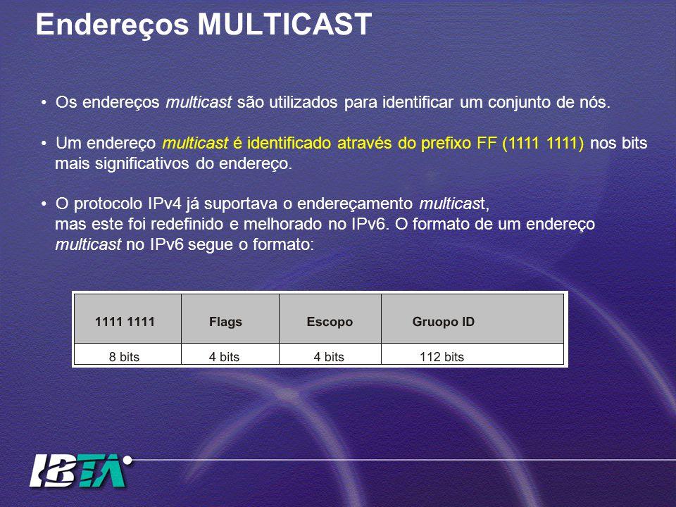 Endereços MULTICAST Os endereços multicast são utilizados para identificar um conjunto de nós. Um endereço multicast é identificado através do prefixo