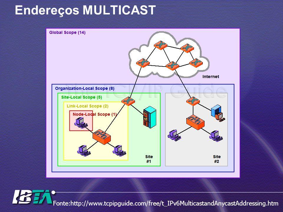 Endereços MULTICAST Fonte:http://www.tcpipguide.com/free/t_IPv6MulticastandAnycastAddressing.htm