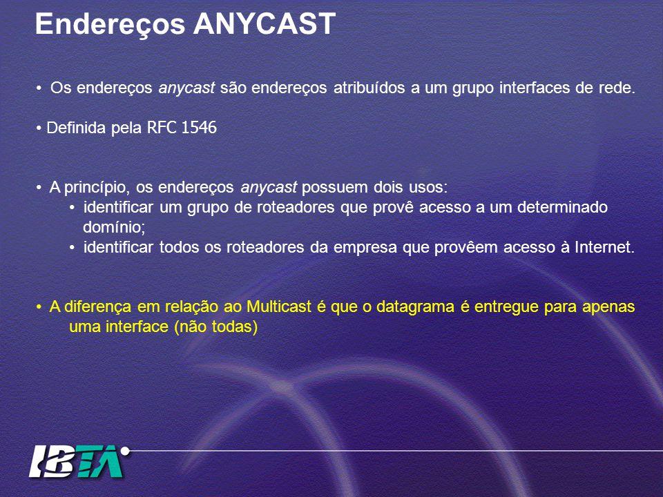 Endereços ANYCAST Os endereços anycast são endereços atribuídos a um grupo interfaces de rede. Definida pela RFC 1546 A princípio, os endereços anycas