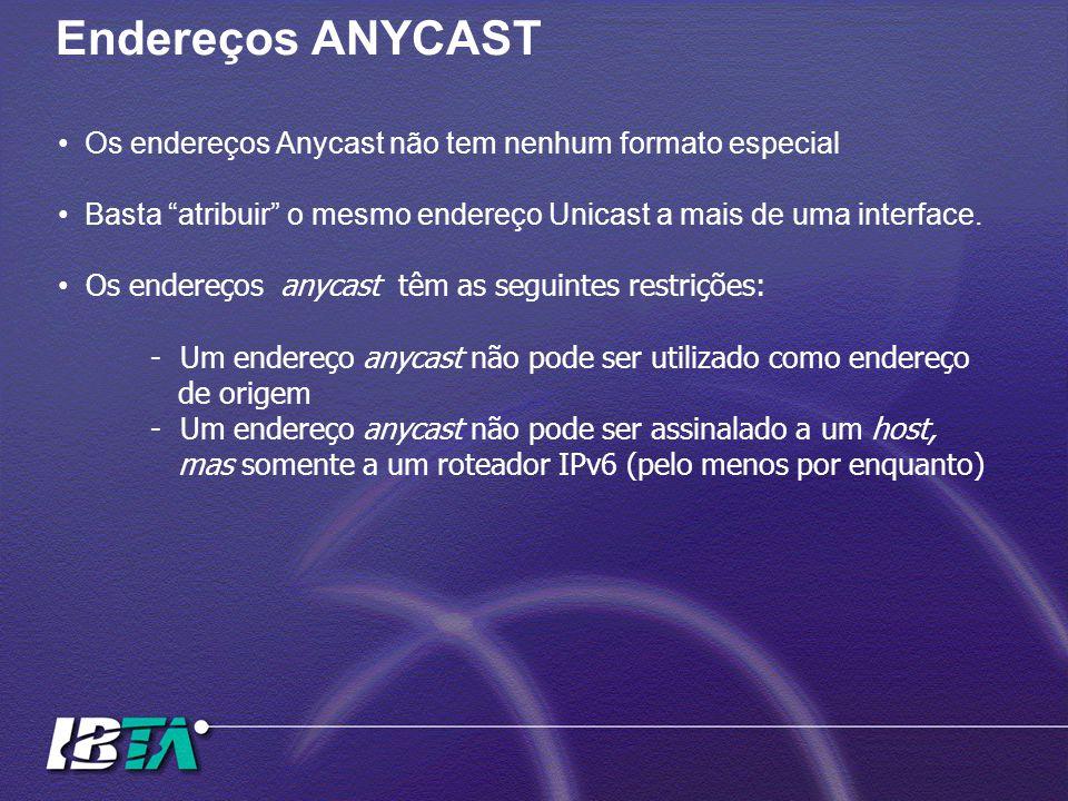 Endereços ANYCAST Os endereços Anycast não tem nenhum formato especial Basta atribuir o mesmo endereço Unicast a mais de uma interface.