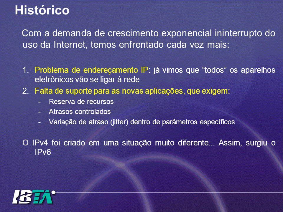 Histórico Com a demanda de crescimento exponencial ininterrupto do uso da Internet, temos enfrentado cada vez mais: 1.Problema de endereçamento IP: já vimos que todos os aparelhos eletrônicos vão se ligar à rede 2.Falta de suporte para as novas aplicações, que exigem: -Reserva de recursos -Atrasos controlados -Variação de atraso (jitter) dentro de parâmetros específicos O IPv4 foi criado em uma situação muito diferente...