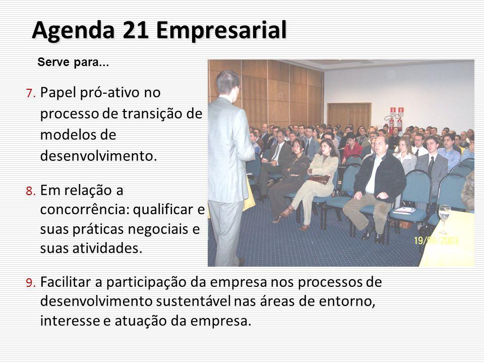 Agenda 21 Empresarial 7. Papel pró-ativo no processo de transição de modelos de desenvolvimento. 8. Em relação a concorrência: qualificar e suas práti