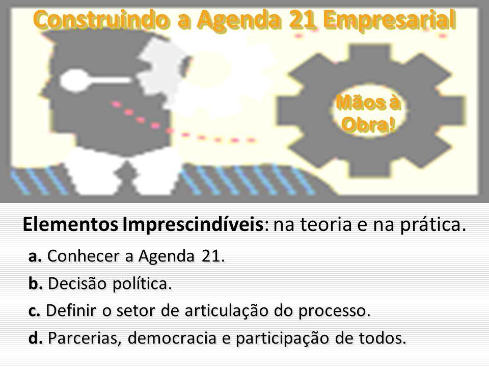 Construindo a Agenda 21 Empresarial a. Conhecer a Agenda 21. b. Decisão política. c. Definir o setor de articulação do processo. d. Parcerias, democra