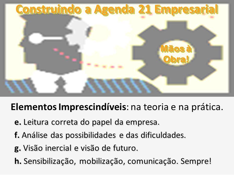 Construindo a Agenda 21 Empresarial e. Leitura correta do papel da empresa. f. Análise das possibilidades e das dificuldades. g. Visão inercial e visã