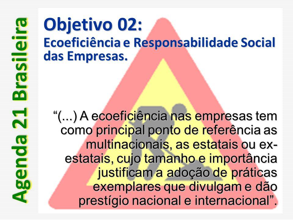 """Objetivo 02: Ecoeficiência e Responsabilidade Social das Empresas. """"(...) A ecoeficiência nas empresas tem como principal ponto de referência as multi"""