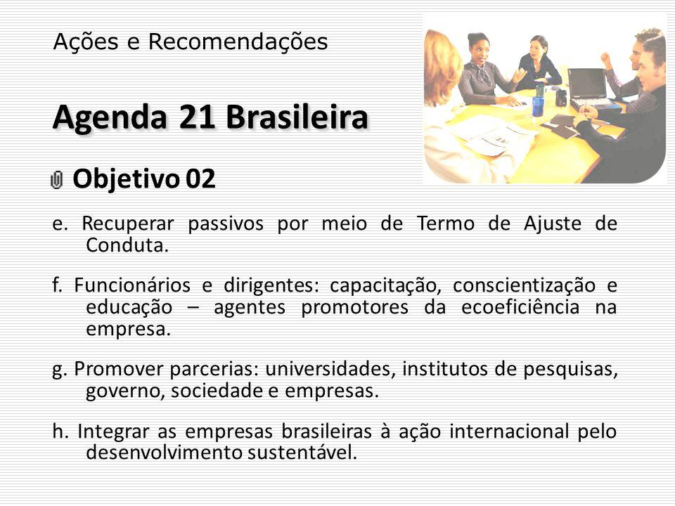 Agenda 21 Brasileira Ações e Recomendações Objetivo 02 e. Recuperar passivos por meio de Termo de Ajuste de Conduta. f. Funcionários e dirigentes: cap