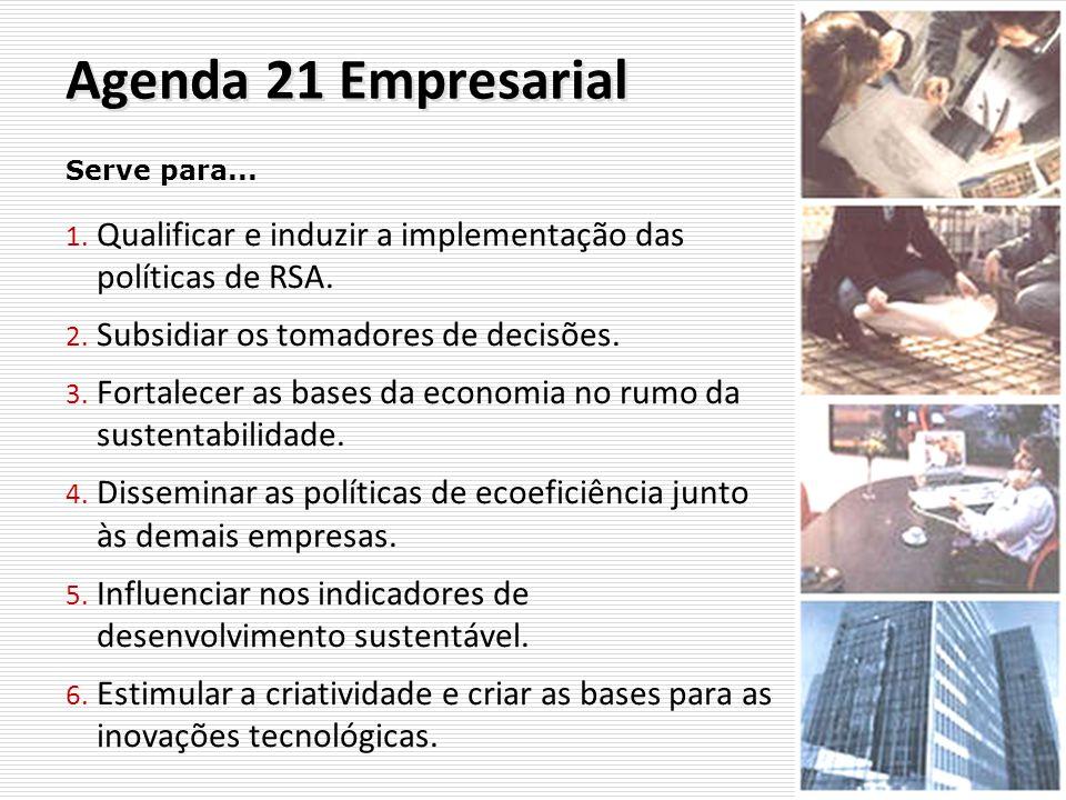 Agenda 21 Empresarial 1. Qualificar e induzir a implementação das políticas de RSA. 2. Subsidiar os tomadores de decisões. 3. Fortalecer as bases da e