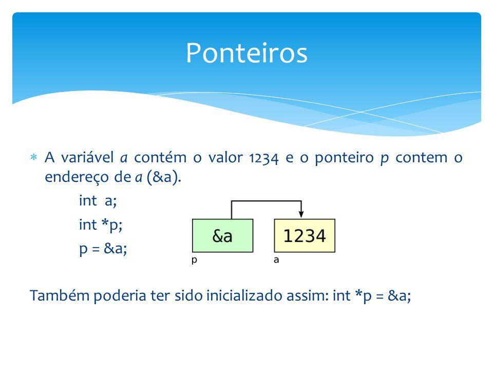  A variável a contém o valor 1234 e o ponteiro p contem o endereço de a (&a). int a; int *p; p = &a; Também poderia ter sido inicializado assim: int