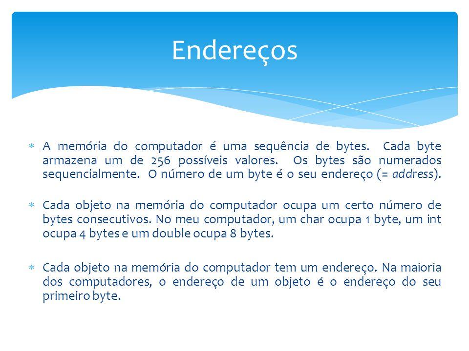 A memória do computador é uma sequência de bytes. Cada byte armazena um de 256 possíveis valores. Os bytes são numerados sequencialmente. O número d