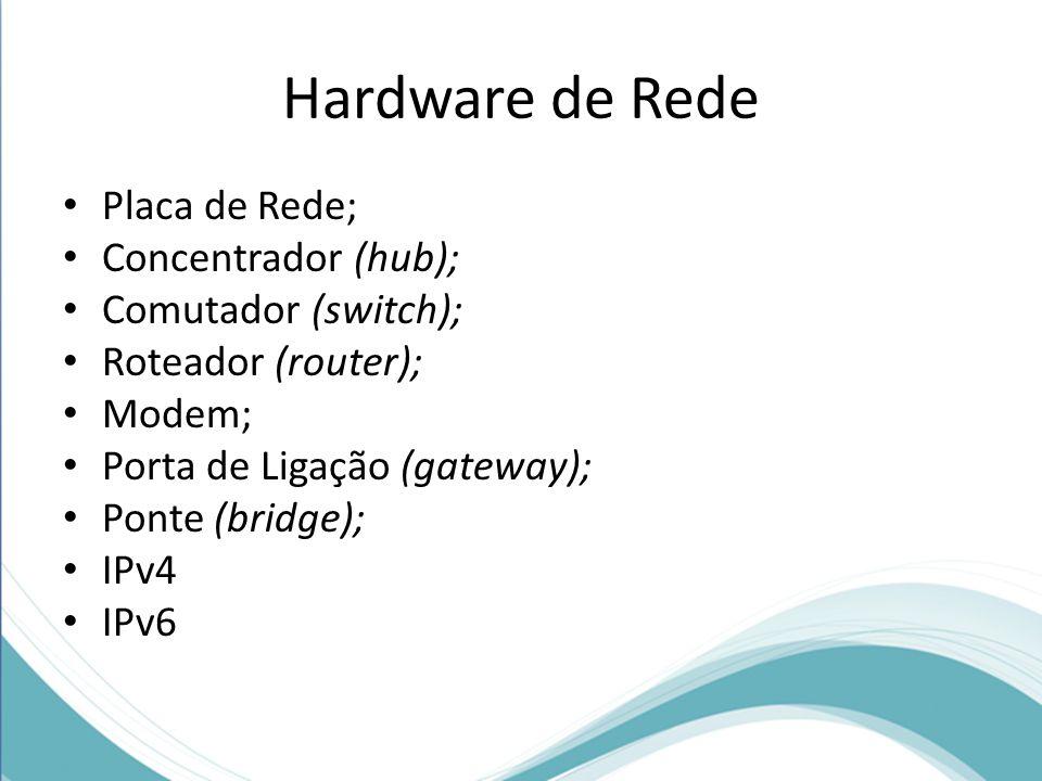 Hardware de Rede Placa de Rede; Concentrador (hub); Comutador (switch); Roteador (router); Modem; Porta de Ligação (gateway); Ponte (bridge); IPv4 IPv