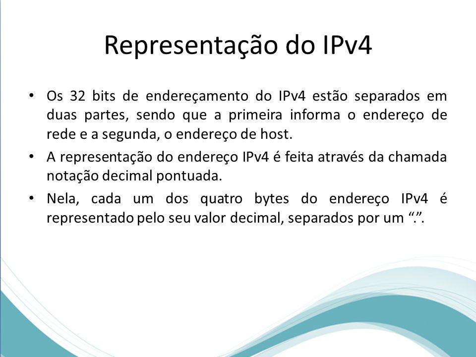 Representação do IPv4 Os 32 bits de endereçamento do IPv4 estão separados em duas partes, sendo que a primeira informa o endereço de rede e a segunda,