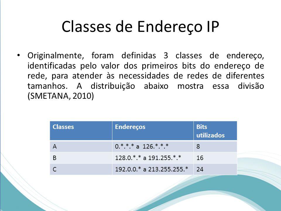 Classes de Endereço IP Originalmente, foram definidas 3 classes de endereço, identificadas pelo valor dos primeiros bits do endereço de rede, para ate