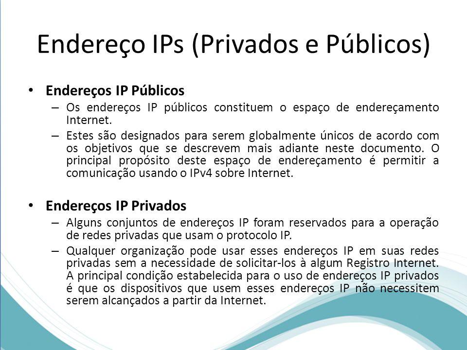 Endereço IPs (Privados e Públicos) Endereços IP Públicos – Os endereços IP públicos constituem o espaço de endereçamento Internet. – Estes são designa