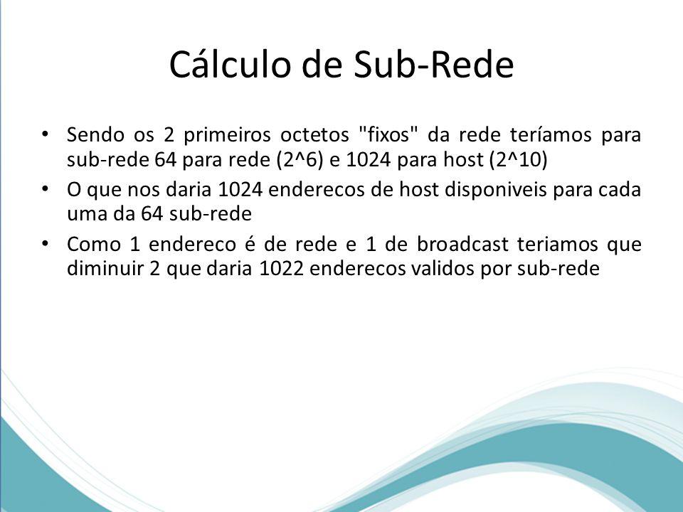 Cálculo de Sub-Rede Sendo os 2 primeiros octetos