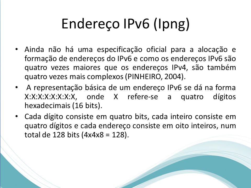 Endereço IPv6 (Ipng) Ainda não há uma especificação oficial para a alocação e formação de endereços do IPv6 e como os endereços IPv6 são quatro vezes