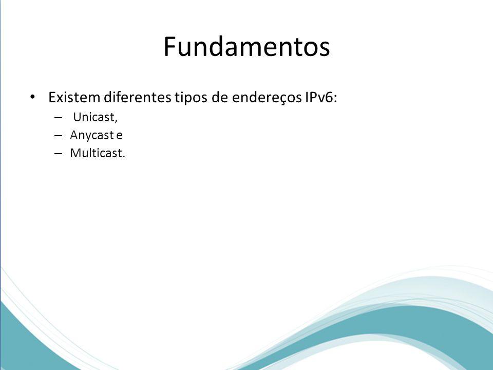 Fundamentos Existem diferentes tipos de endereços IPv6: – Unicast, – Anycast e – Multicast.