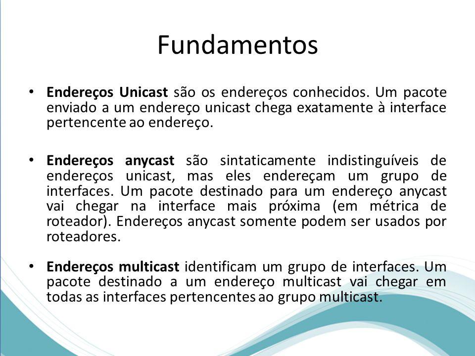 Fundamentos Endereços Unicast são os endereços conhecidos. Um pacote enviado a um endereço unicast chega exatamente à interface pertencente ao endereç