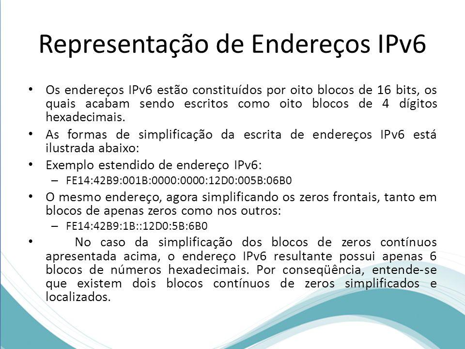 Representação de Endereços IPv6 Os endereços IPv6 estão constituídos por oito blocos de 16 bits, os quais acabam sendo escritos como oito blocos de 4