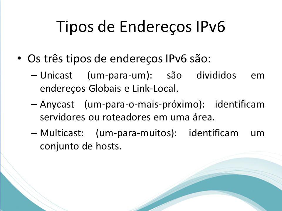 Tipos de Endereços IPv6 Os três tipos de endereços IPv6 são: – Unicast (um-para-um): são divididos em endereços Globais e Link-Local. – Anycast (um-pa