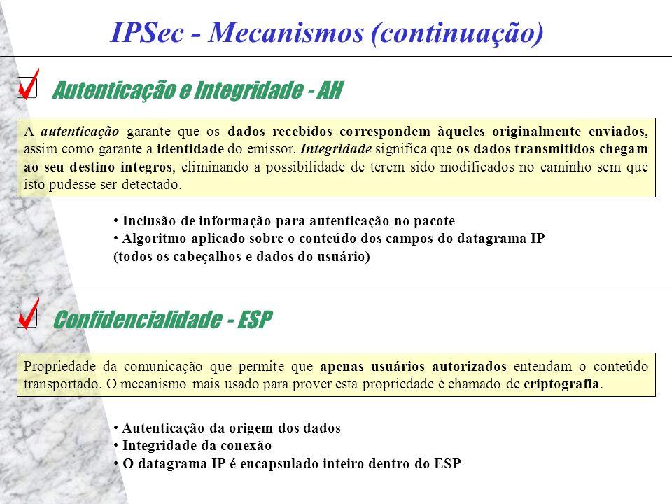 IPSec - Mecanismos (continuação) Autenticação e Integridade - AH A autenticação garante que os dados recebidos correspondem àqueles originalmente enviados, assim como garante a identidade do emissor.