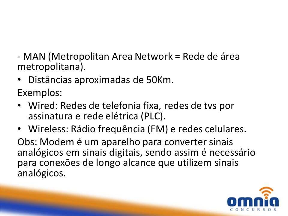 - MAN (Metropolitan Area Network = Rede de área metropolitana). Distâncias aproximadas de 50Km. Exemplos: Wired: Redes de telefonia fixa, redes de tvs