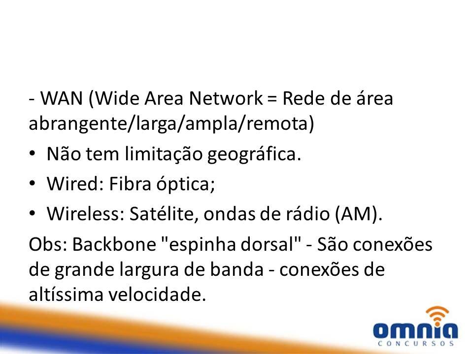 - WAN (Wide Area Network = Rede de área abrangente/larga/ampla/remota) Não tem limitação geográfica. Wired: Fibra óptica; Wireless: Satélite, ondas de