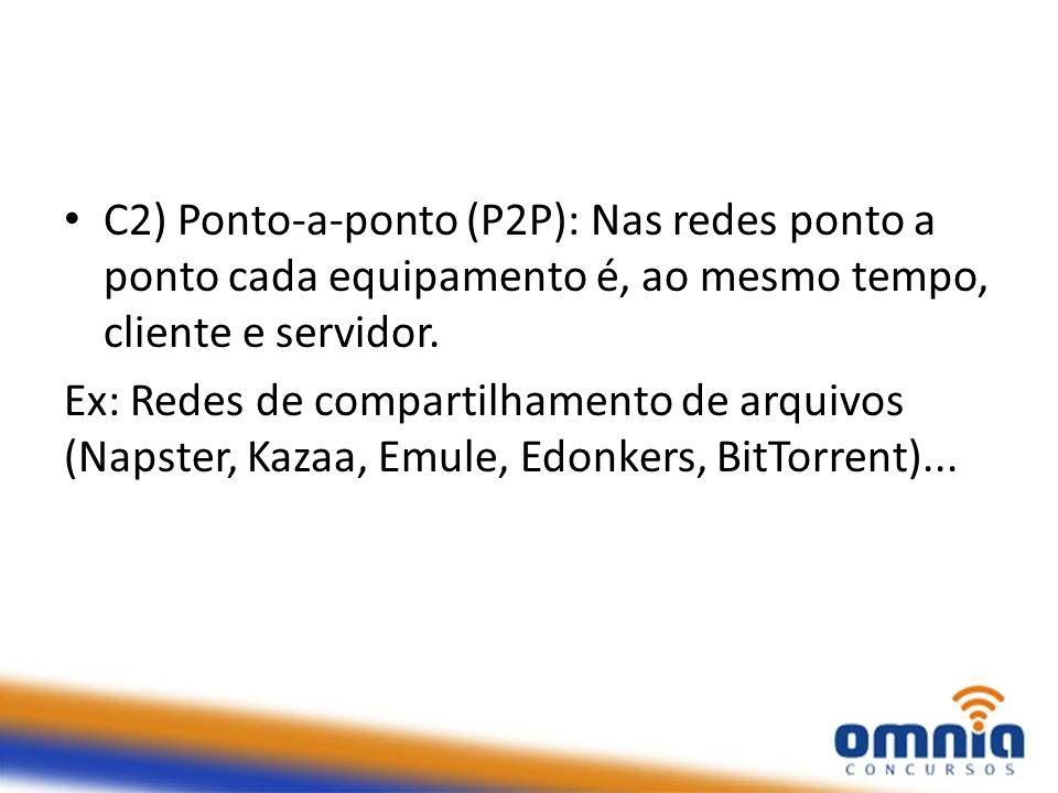 C2) Ponto-a-ponto (P2P): Nas redes ponto a ponto cada equipamento é, ao mesmo tempo, cliente e servidor. Ex: Redes de compartilhamento de arquivos (Na
