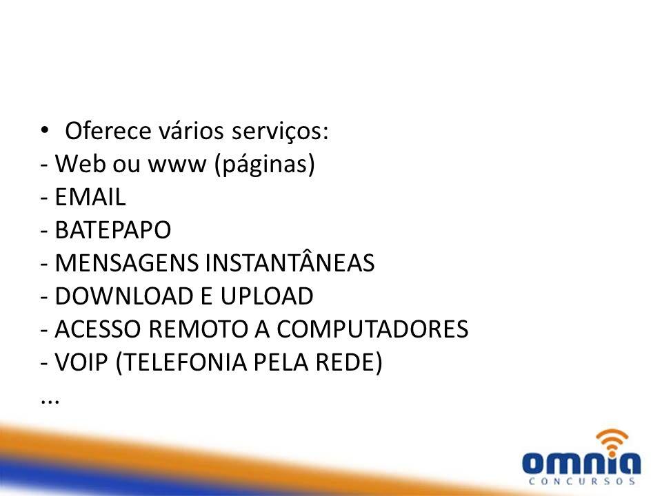 Oferece vários serviços: - Web ou www (páginas) - EMAIL - BATEPAPO - MENSAGENS INSTANTÂNEAS - DOWNLOAD E UPLOAD - ACESSO REMOTO A COMPUTADORES - VOIP