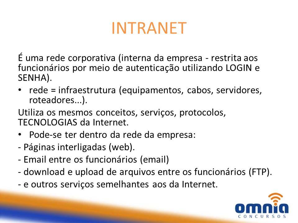 INTRANET É uma rede corporativa (interna da empresa - restrita aos funcionários por meio de autenticação utilizando LOGIN e SENHA). rede = infraestrut
