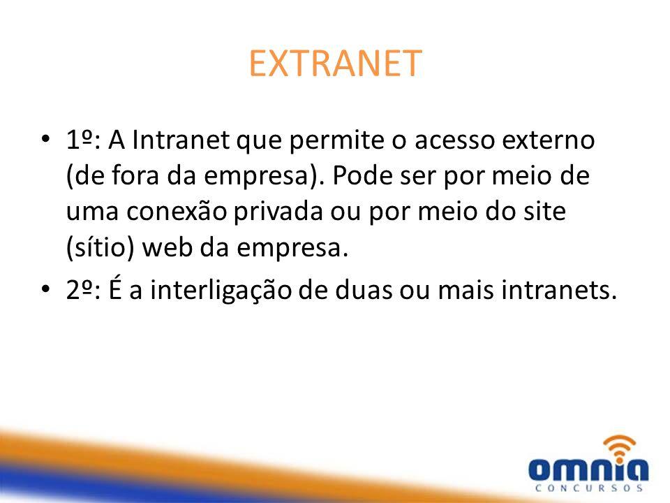 EXTRANET 1º: A Intranet que permite o acesso externo (de fora da empresa). Pode ser por meio de uma conexão privada ou por meio do site (sítio) web da