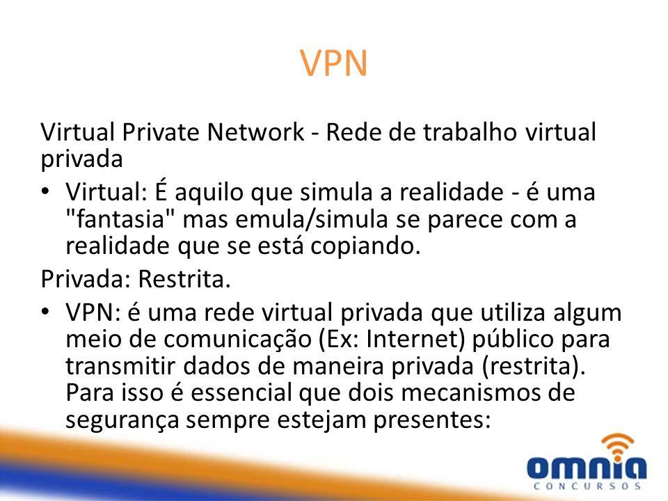 VPN Virtual Private Network - Rede de trabalho virtual privada Virtual: É aquilo que simula a realidade - é uma