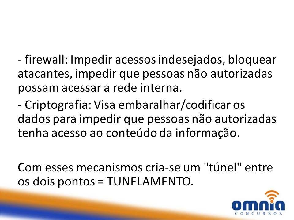 - firewall: Impedir acessos indesejados, bloquear atacantes, impedir que pessoas não autorizadas possam acessar a rede interna. - Criptografia: Visa e