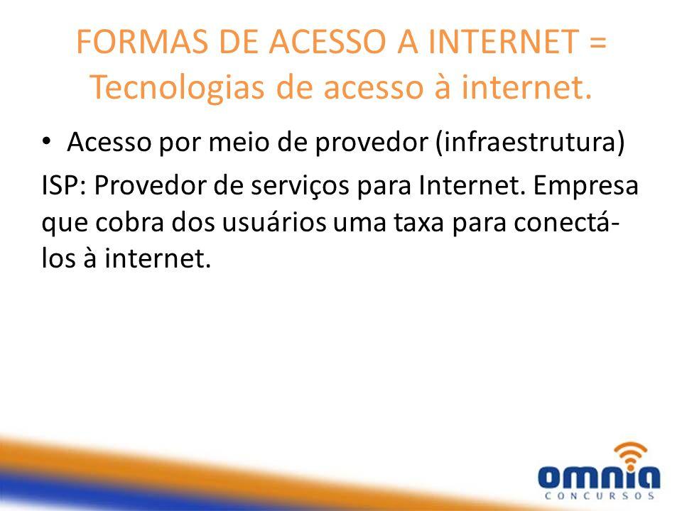 FORMAS DE ACESSO A INTERNET = Tecnologias de acesso à internet. Acesso por meio de provedor (infraestrutura) ISP: Provedor de serviços para Internet.
